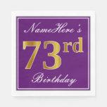 [ Thumbnail: Elegant Purple, Faux Gold 73rd Birthday + Name Paper Napkin ]