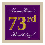 [ Thumbnail: Elegant, Purple, Faux Gold 73rd Birthday + Name Poster ]