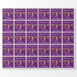 [ Thumbnail: Elegant, Purple, Faux Gold 73rd Birthday + Name Wrapping Paper ]