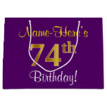 [ Thumbnail: Elegant, Purple, Faux Gold 74th Birthday + Name Gift Bag ]