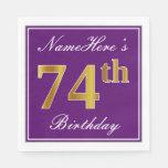 [ Thumbnail: Elegant Purple, Faux Gold 74th Birthday + Name Paper Napkin ]