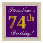 [ Thumbnail: Elegant, Purple, Faux Gold 74th Birthday + Name Poster ]