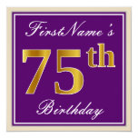 [ Thumbnail: Elegant, Purple, Faux Gold 75th Birthday + Name Invitation ]