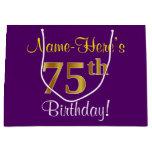 [ Thumbnail: Elegant, Purple, Faux Gold 75th Birthday + Name Gift Bag ]