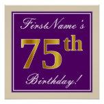 [ Thumbnail: Elegant, Purple, Faux Gold 75th Birthday + Name Poster ]
