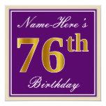 [ Thumbnail: Elegant, Purple, Faux Gold 76th Birthday + Name Invitation ]