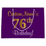 [ Thumbnail: Elegant, Purple, Faux Gold 76th Birthday + Name Gift Bag ]