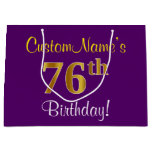 [ Thumbnail: Elegant, Purple, Faux Gold 76th Birthday + Name Gift Bag ]