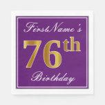 [ Thumbnail: Elegant Purple, Faux Gold 76th Birthday + Name Paper Napkin ]