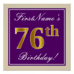 [ Thumbnail: Elegant, Purple, Faux Gold 76th Birthday + Name Poster ]