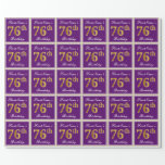 [ Thumbnail: Elegant, Purple, Faux Gold 76th Birthday + Name Wrapping Paper ]