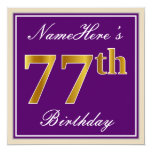 [ Thumbnail: Elegant, Purple, Faux Gold 77th Birthday + Name Invitation ]