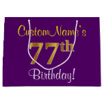 [ Thumbnail: Elegant, Purple, Faux Gold 77th Birthday + Name Gift Bag ]
