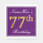 [ Thumbnail: Elegant Purple, Faux Gold 77th Birthday + Name Napkin ]