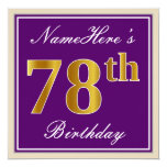 [ Thumbnail: Elegant, Purple, Faux Gold 78th Birthday + Name Invitation ]
