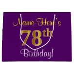[ Thumbnail: Elegant, Purple, Faux Gold 78th Birthday + Name Gift Bag ]