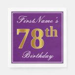 [ Thumbnail: Elegant Purple, Faux Gold 78th Birthday + Name Paper Napkin ]