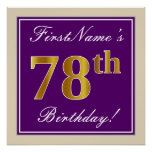 [ Thumbnail: Elegant, Purple, Faux Gold 78th Birthday + Name Poster ]