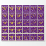 [ Thumbnail: Elegant, Purple, Faux Gold 78th Birthday + Name Wrapping Paper ]