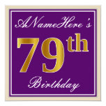 [ Thumbnail: Elegant, Purple, Faux Gold 79th Birthday + Name Invitation ]
