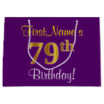 [ Thumbnail: Elegant, Purple, Faux Gold 79th Birthday + Name Gift Bag ]