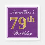 [ Thumbnail: Elegant Purple, Faux Gold 79th Birthday + Name Paper Napkin ]
