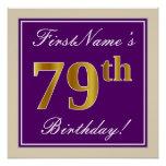 [ Thumbnail: Elegant, Purple, Faux Gold 79th Birthday + Name Poster ]