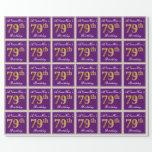[ Thumbnail: Elegant, Purple, Faux Gold 79th Birthday + Name Wrapping Paper ]