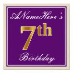 [ Thumbnail: Elegant, Purple, Faux Gold 7th Birthday + Name Invitation ]