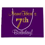 [ Thumbnail: Elegant, Purple, Faux Gold 7th Birthday + Name Gift Bag ]