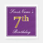 [ Thumbnail: Elegant Purple, Faux Gold 7th Birthday + Name Napkin ]