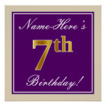 [ Thumbnail: Elegant, Purple, Faux Gold 7th Birthday + Name Poster ]