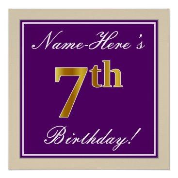 Art Themed Elegant, Purple, Faux Gold 7th Birthday   Name Poster