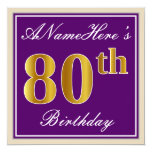 [ Thumbnail: Elegant, Purple, Faux Gold 80th Birthday + Name Invitation ]
