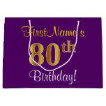 [ Thumbnail: Elegant, Purple, Faux Gold 80th Birthday + Name Gift Bag ]