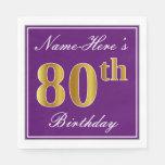 [ Thumbnail: Elegant Purple, Faux Gold 80th Birthday + Name Napkin ]