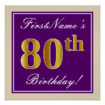 [ Thumbnail: Elegant, Purple, Faux Gold 80th Birthday + Name Poster ]