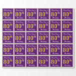 [ Thumbnail: Elegant, Purple, Faux Gold 80th Birthday + Name Wrapping Paper ]