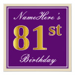 [ Thumbnail: Elegant, Purple, Faux Gold 81st Birthday + Name Invitation ]