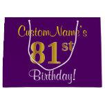 [ Thumbnail: Elegant, Purple, Faux Gold 81st Birthday + Name Gift Bag ]