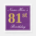 [ Thumbnail: Elegant Purple, Faux Gold 81st Birthday + Name Napkin ]