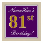[ Thumbnail: Elegant, Purple, Faux Gold 81st Birthday + Name Poster ]