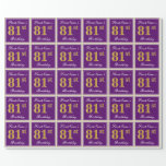 [ Thumbnail: Elegant, Purple, Faux Gold 81st Birthday + Name Wrapping Paper ]