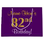[ Thumbnail: Elegant, Purple, Faux Gold 82nd Birthday + Name Gift Bag ]
