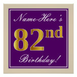 [ Thumbnail: Elegant, Purple, Faux Gold 82nd Birthday + Name Poster ]