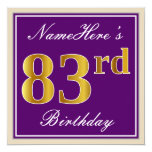 [ Thumbnail: Elegant, Purple, Faux Gold 83rd Birthday + Name Invitation ]