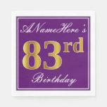 [ Thumbnail: Elegant Purple, Faux Gold 83rd Birthday + Name Paper Napkin ]