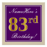 [ Thumbnail: Elegant, Purple, Faux Gold 83rd Birthday + Name Poster ]