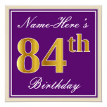 [ Thumbnail: Elegant, Purple, Faux Gold 84th Birthday + Name Invitation ]