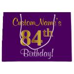 [ Thumbnail: Elegant, Purple, Faux Gold 84th Birthday + Name Gift Bag ]